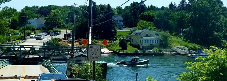 Lobster Boat going through the Barter's Island Bridge